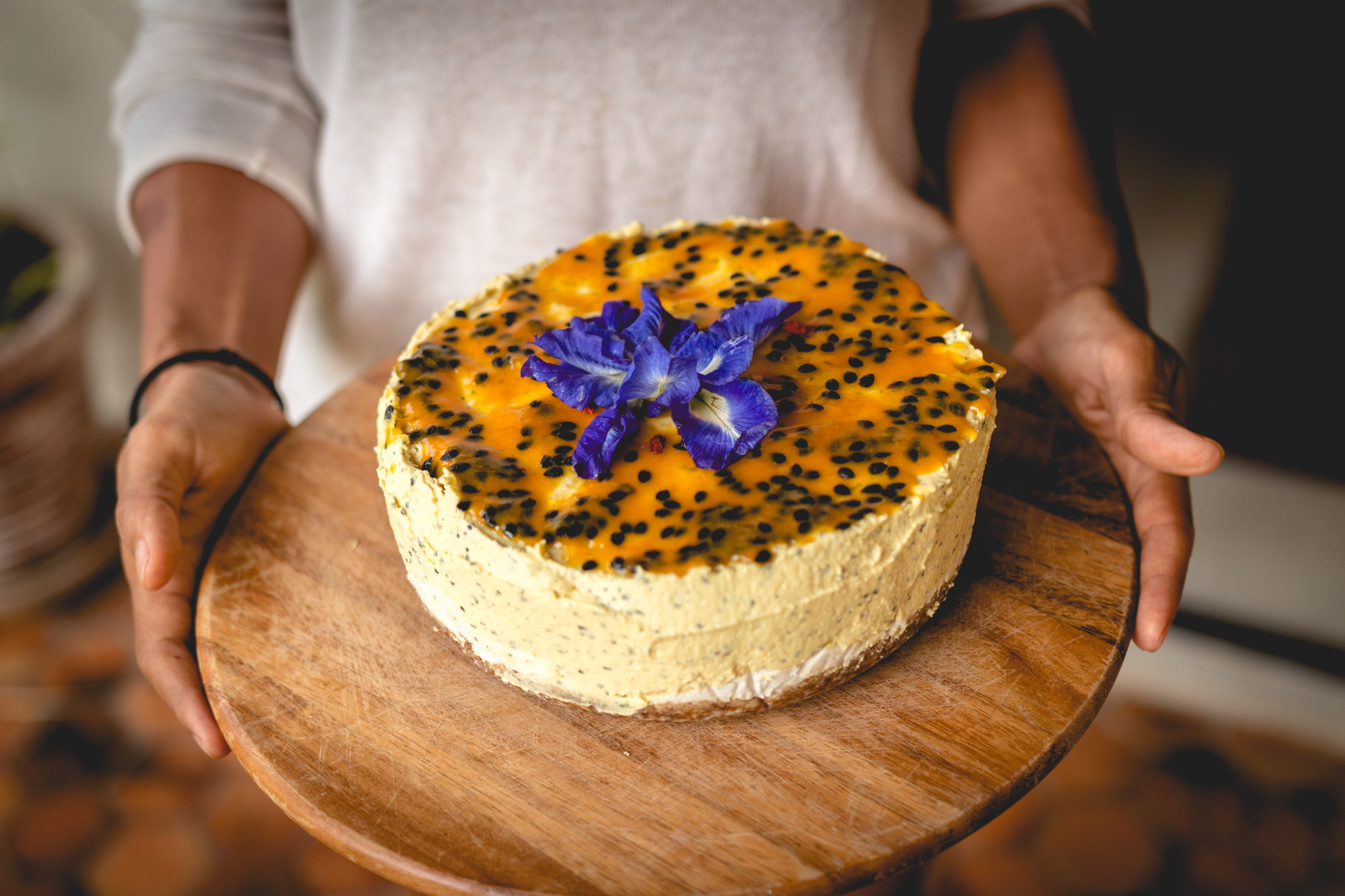 Delicious Food From The Restaurant (vegan Passion Fruit Cake)